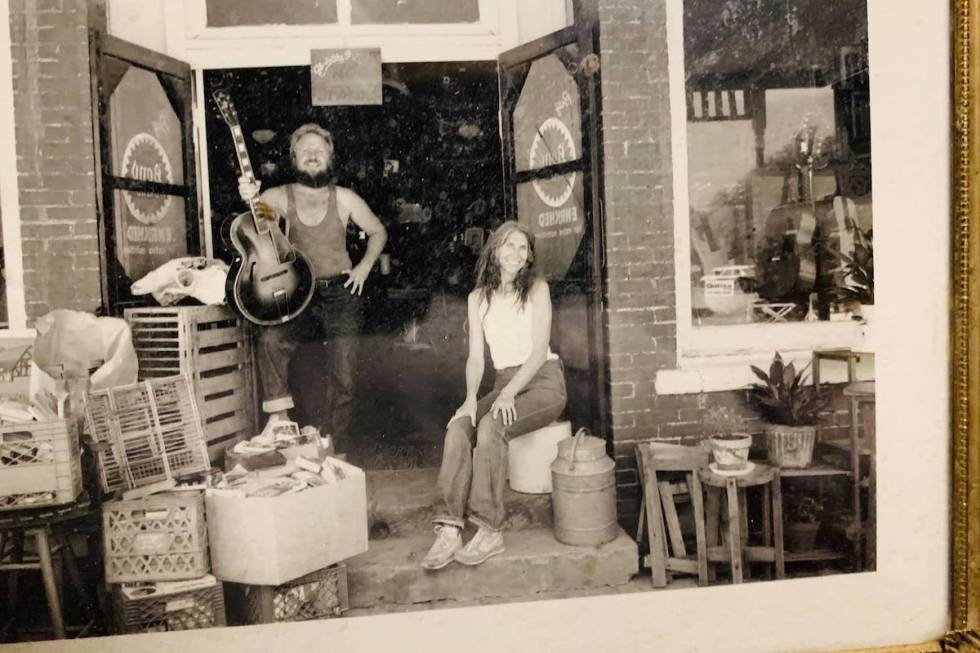 Harley Russell and his late wife Annabelle posing at Sandhills Curiosity Shop premises