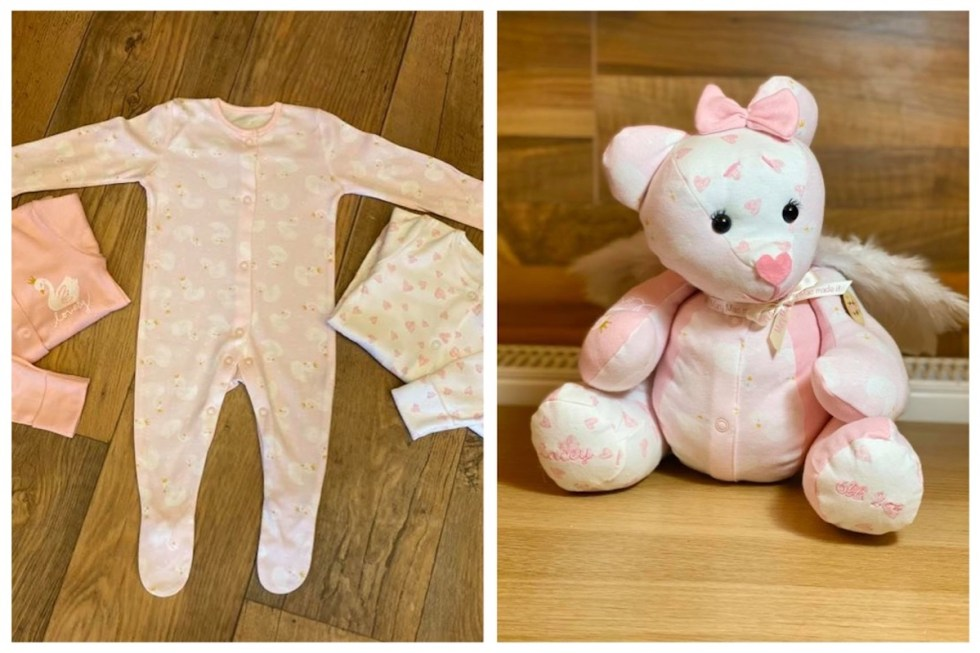 Memory bear created from a baby's clothes