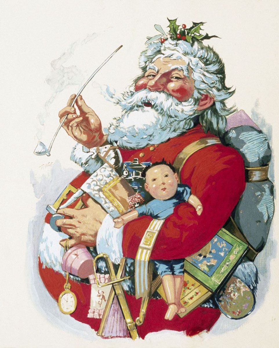 "The ""Merry Old Santa Claus"" portrait created by cartoonist Thomas Nast"