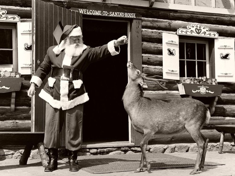 Santa Claus giving a treat to his reindeer outside his house
