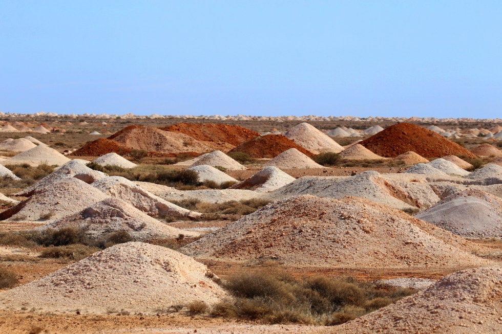 The moon-like landscape of the Coober Pedy opal fields in Australia