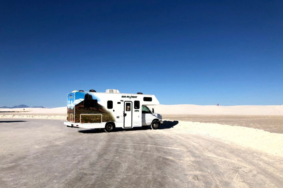Recreational Vehicle at one of the Dunes Drive parking areas of the White Sands National Monument