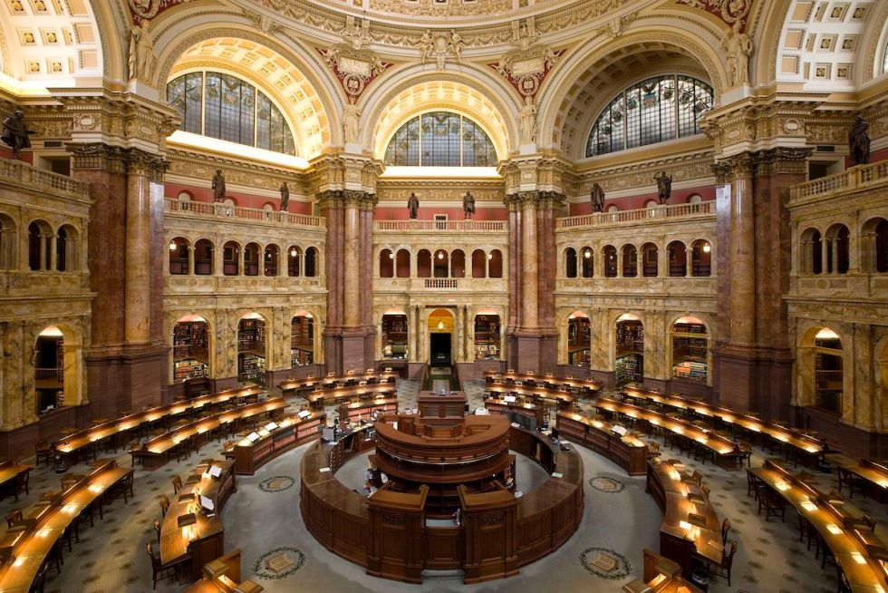 Main Reading Room of the Library of Congress in the Thomas Jefferson Building in Washington, D.C.