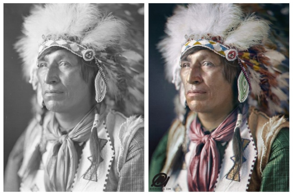 Marina Amaral's colorization of an indigenous man's photograph taken originally by Harry Pollard