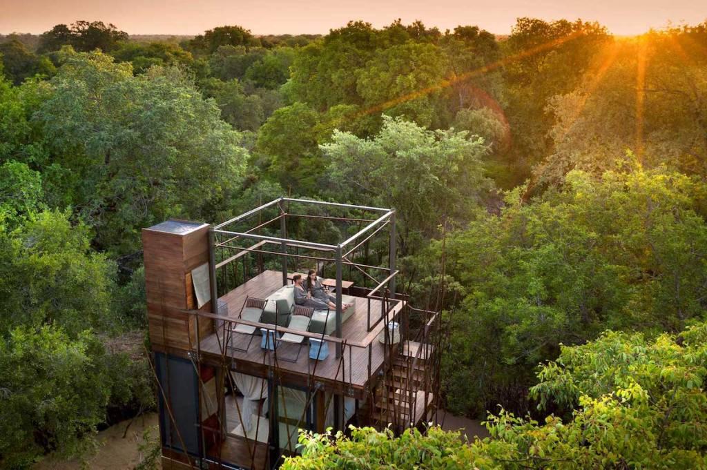 Couple enjoying the sunrise from Ngala Treehouse