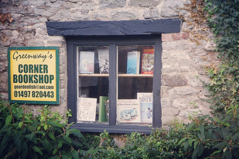 Vintage books on a window display at Greenway's Corner Bookshop