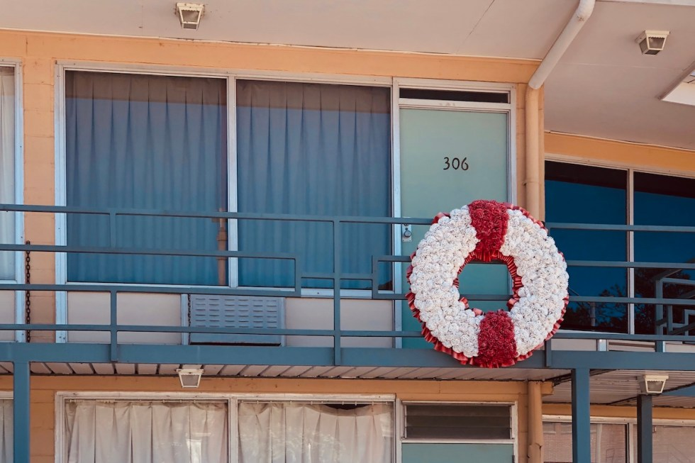 outside of room 306 on the Lorraine Motel's second-floor balcony, where Dr. Martin Luther King Jr. was assassinated