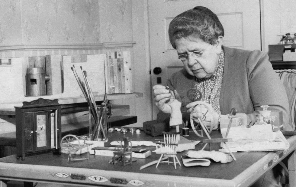Frances Glessner Lee working on one of her 20 miniature crime scenes in the early 1940s