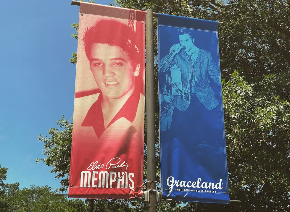 Elvis Presley banners hanging outside Graceland in Memphis, Tennessee