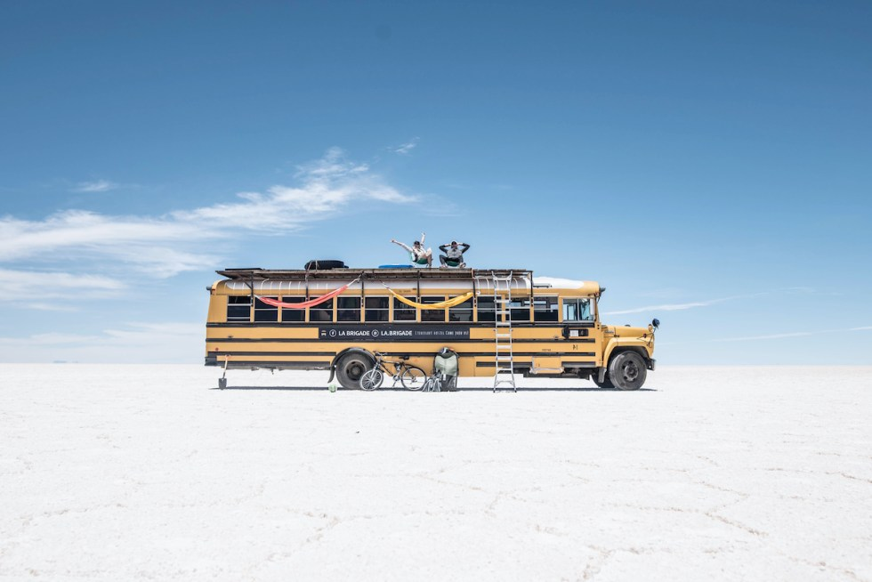 the 39-foot school bus, named 'Natasha,' turned into a hotel on wheels