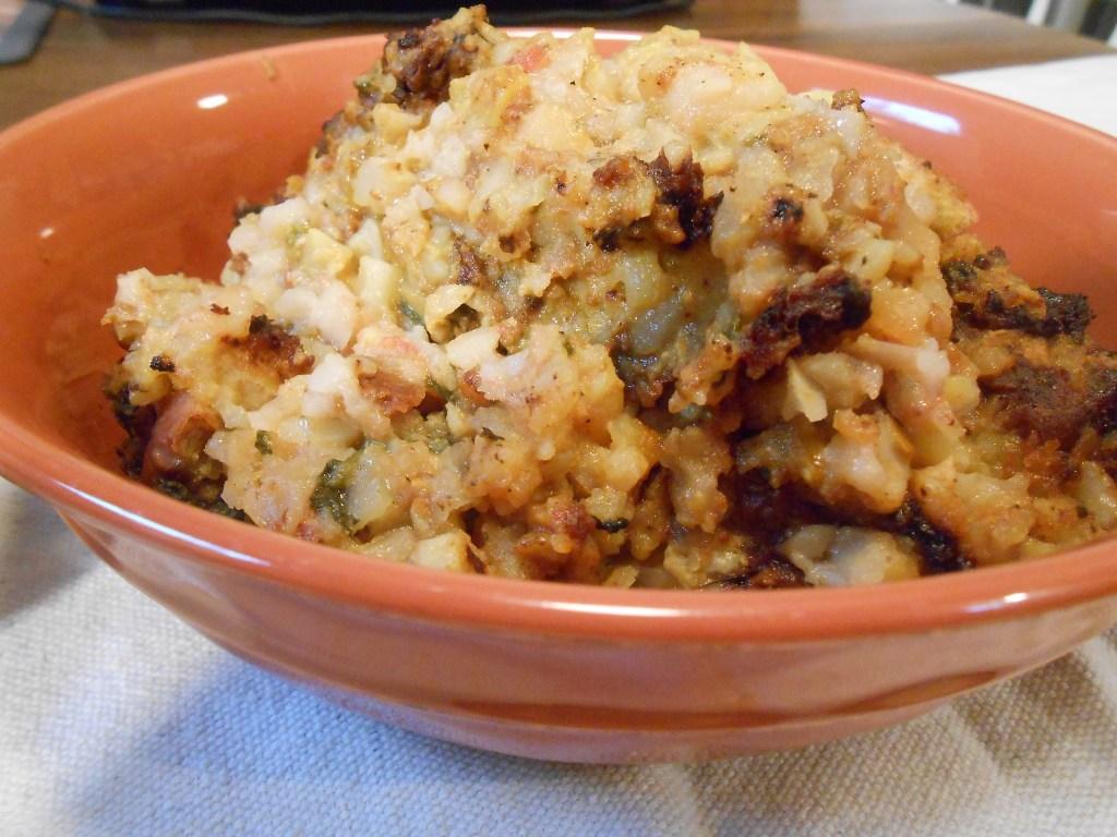 vegan, ground turkey, bread casserole