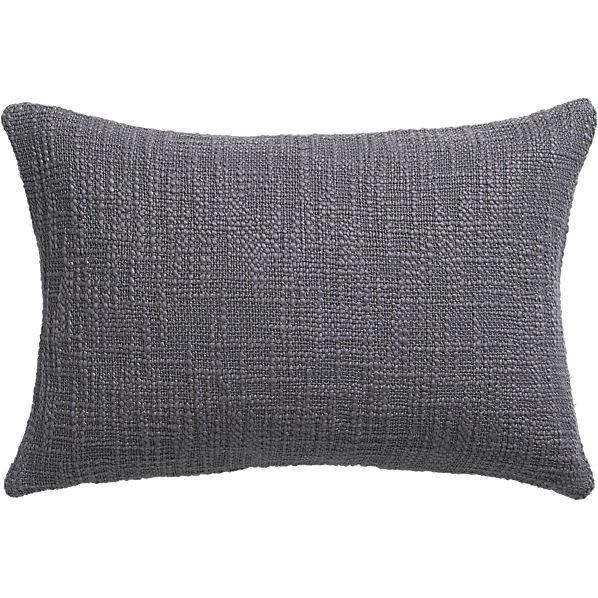 """cb2 basis grey 18""""x12"""" pillow"""