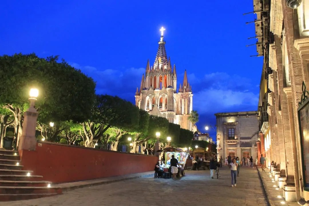 The cathedral in San Miguel de Allende at Night on our Mexico City to San Miguel de Allende road trip