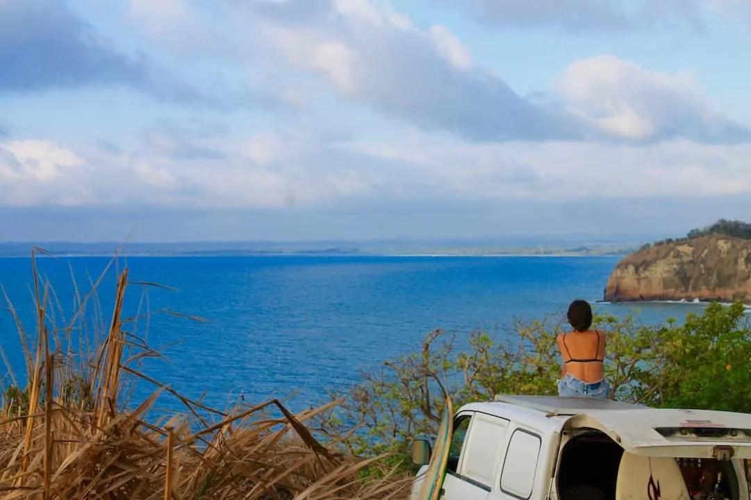 Kelli watching the sea in Ecuador