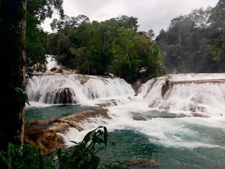 The series of waterfalls at Chiapas' iconic Agua Azul known for its thunderous roar and aqua-blue waters.