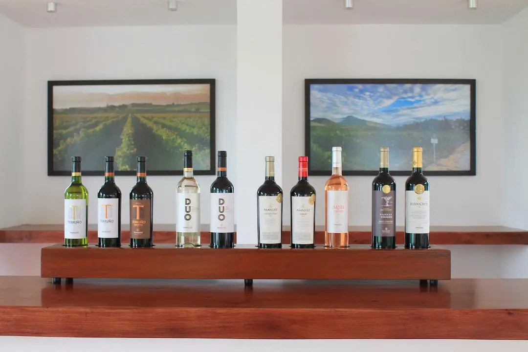 The many Bolivian wines offered at Aranjuez including two gold metal tannats in Tarija Bolivia.