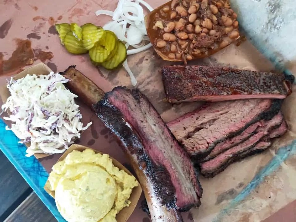 Brisket, ribs, beans, potato salad, cole slaw, pickles all from Franklin BBQ