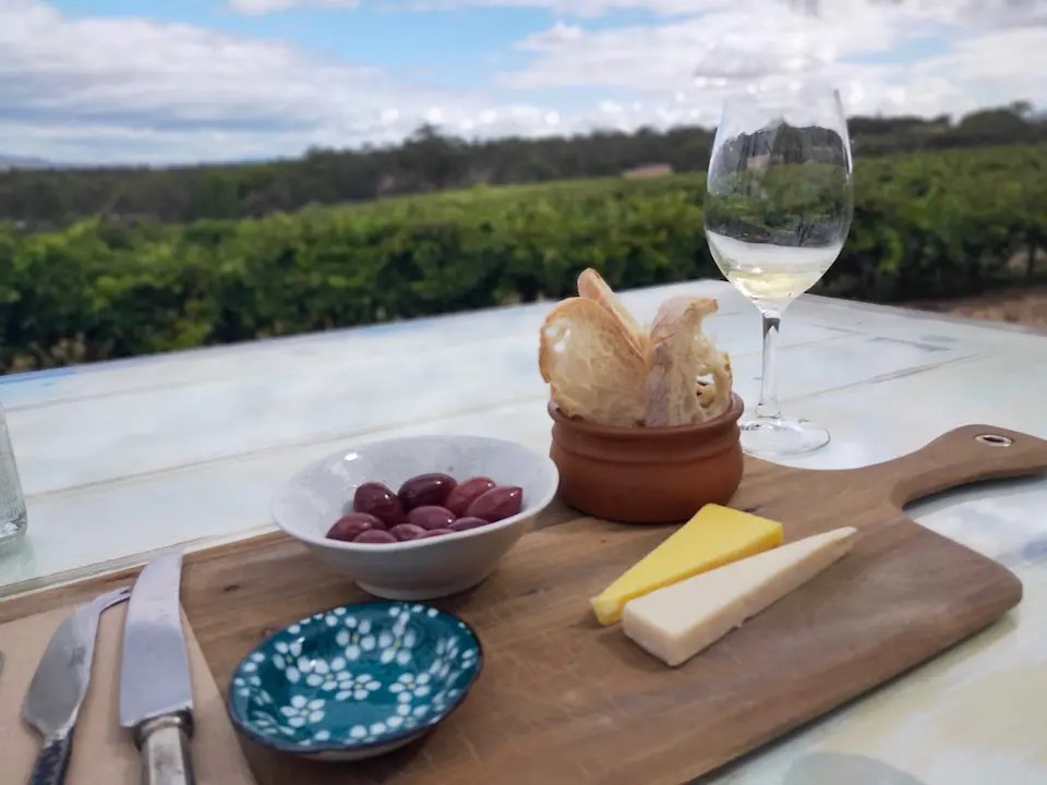 Cheese Board with Wine From David Franz in the Barossa Valley