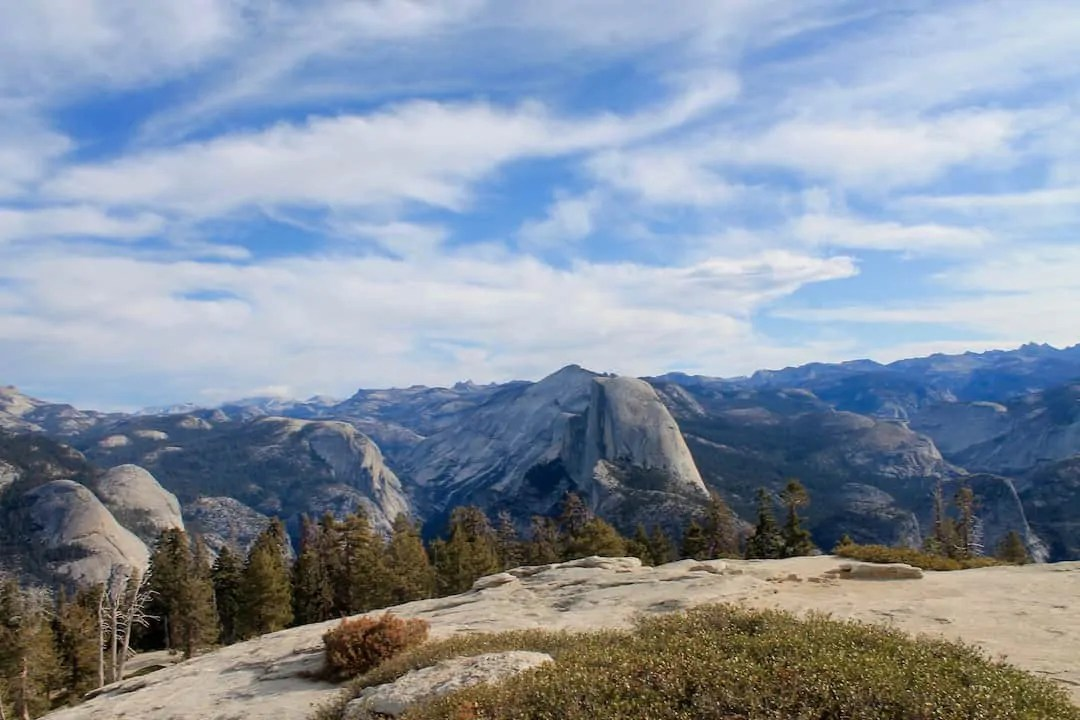 Half dome in Yosemite National Park from the Sentinel Dome and Taft Point Loop trail, easily one of the best things to do in Yosemite
