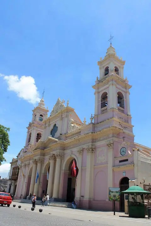 The Cathedral Basilica of Salta at Plaza 9th of July.