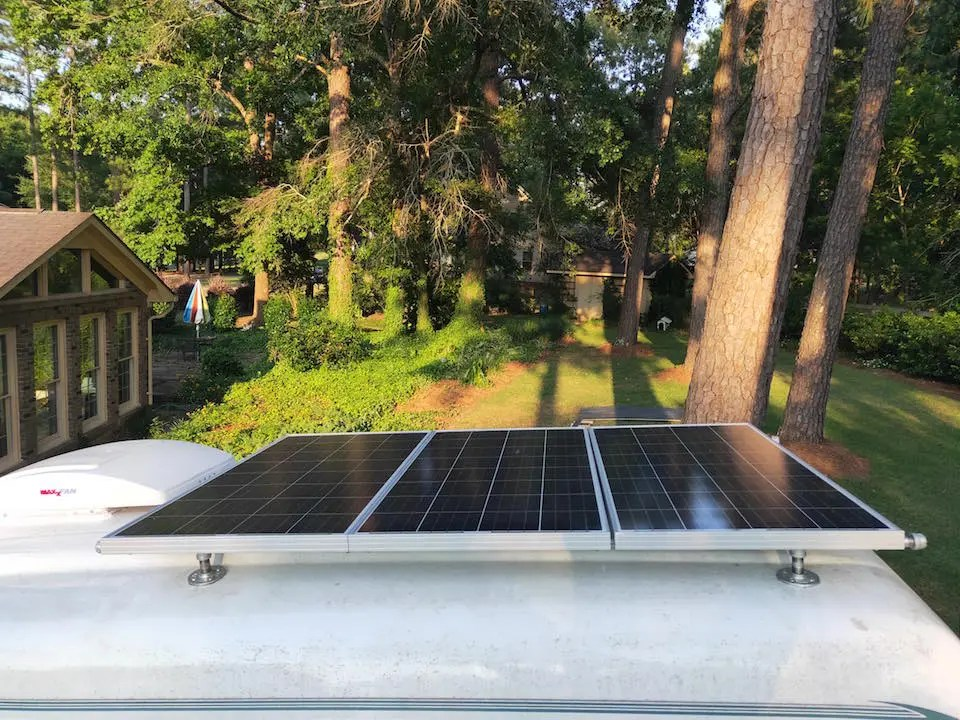 Our finished DIY Van Roof Rack with Solar Panels attached