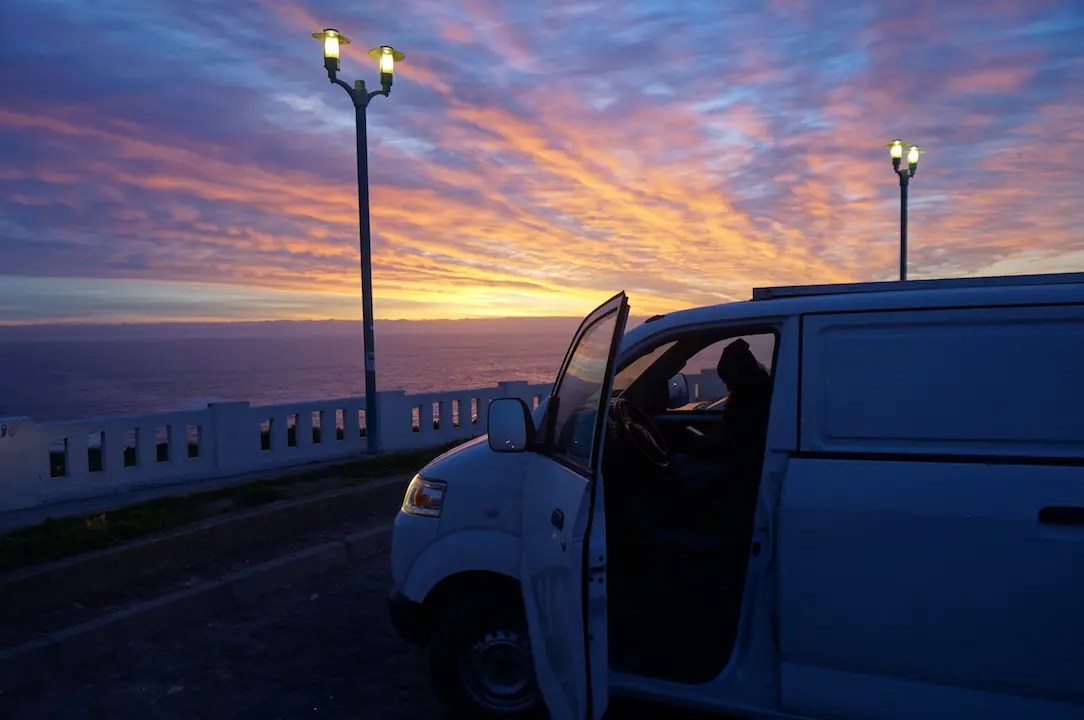 Watching Sunset from the van in Valparaiso