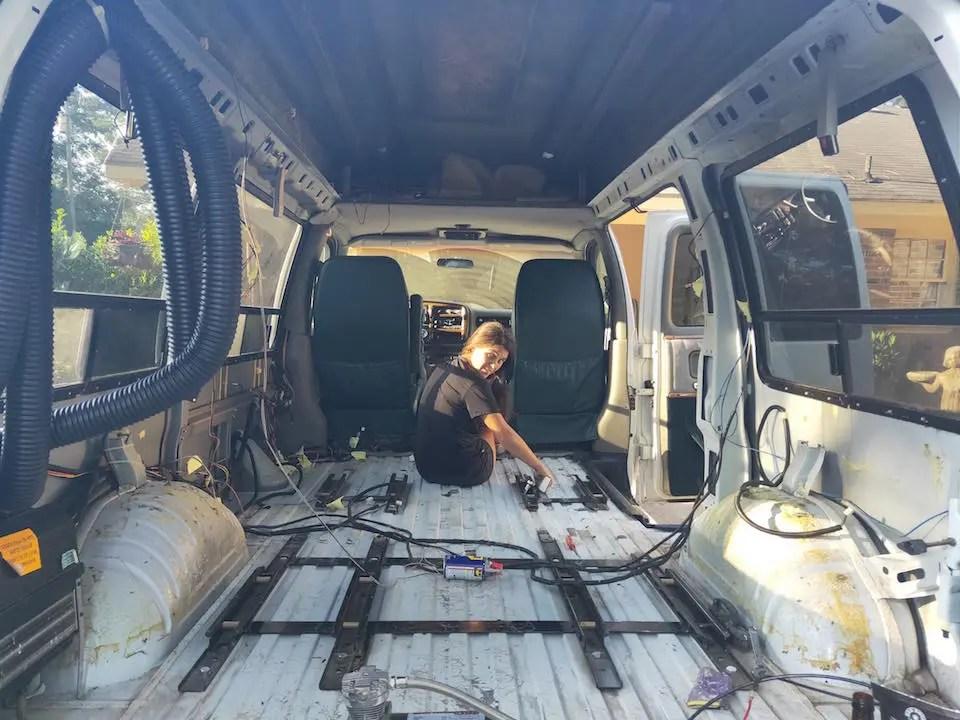 Stripping  our DIY van conversion