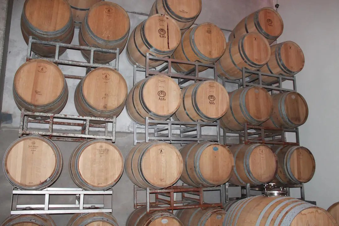 Wall of barrels full of the reserve wines from Bodega A16, one of the best boutique wineries in Mendoza