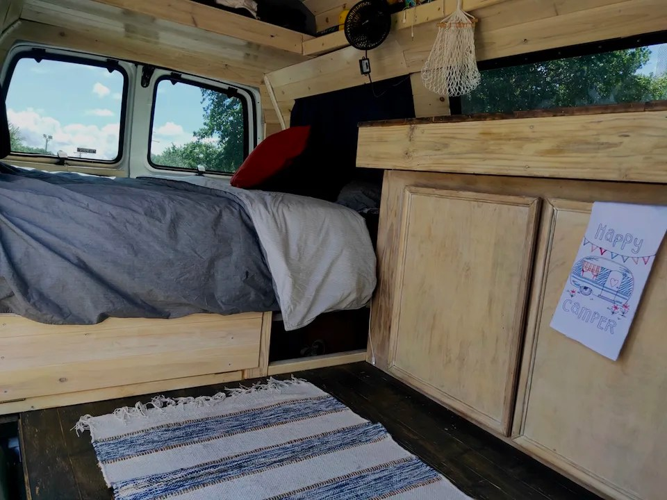 The completed DIY van conversion