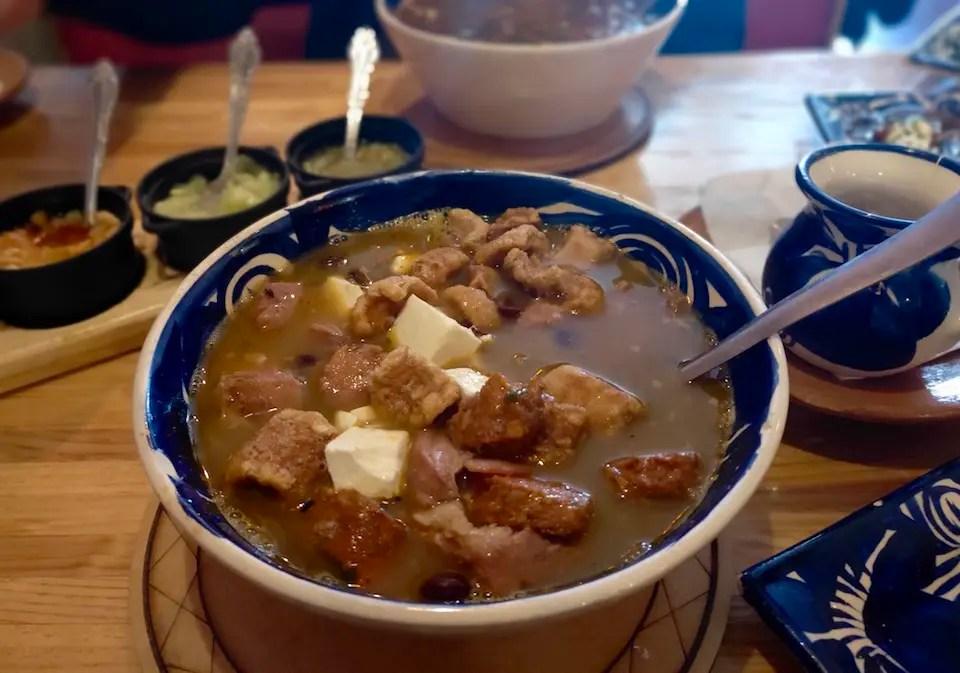 A bowl of caldero or soup in one of the restaurants of San Cristobal de las Casas.