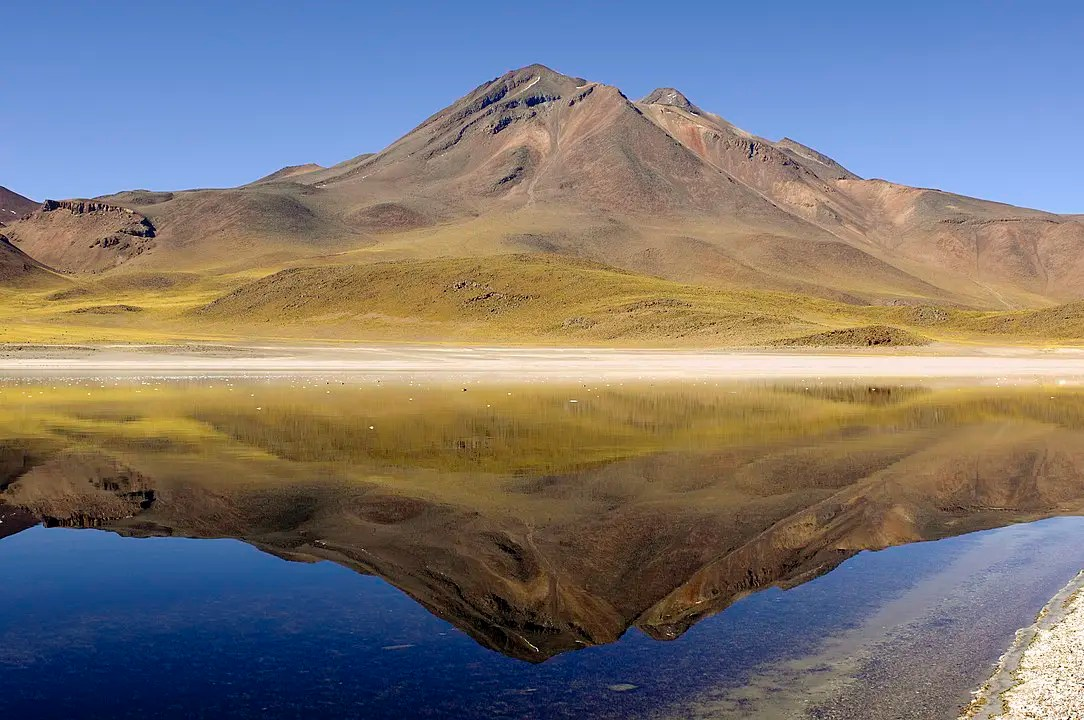 The reflection of the Andes Mountains off Laguna Miscanti is one of the best things to see in the Atacama Desert.
