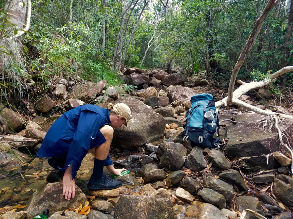There are plenty of places to fill your water bottle while hiking Thorsborne Trail Hinchinbrook Island