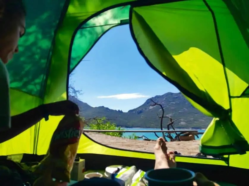 The view of Wine Glass Bay from the tent while walking the Freycinet Peninsula Circuit