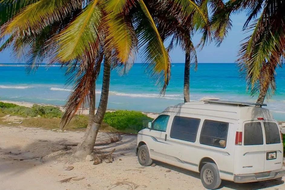 Van parked by beach