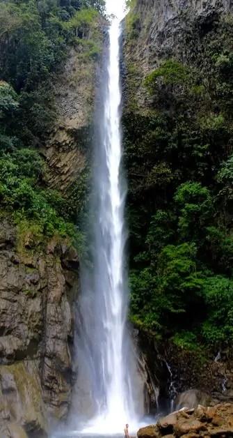 Cascada Del Rocio at the end of a bike ride along the route de cascadas in Baños.