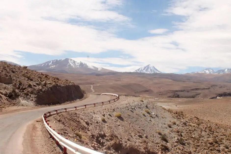 Winding road through the Atacama Desert in Chile