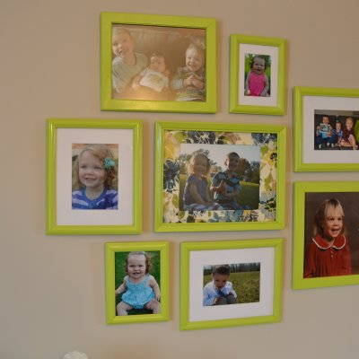 Spray painted picture frame collage