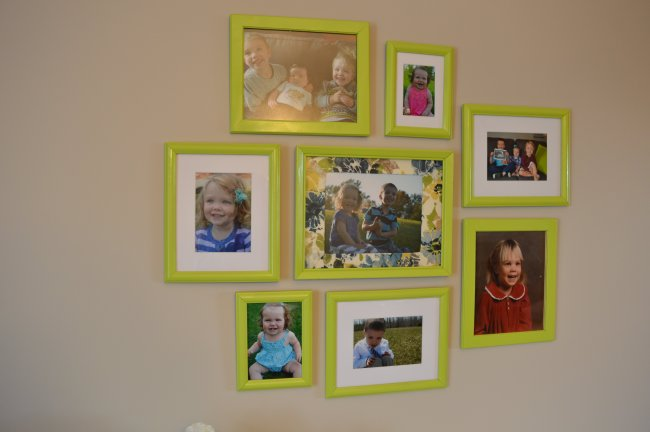 Lime green picture frame collage