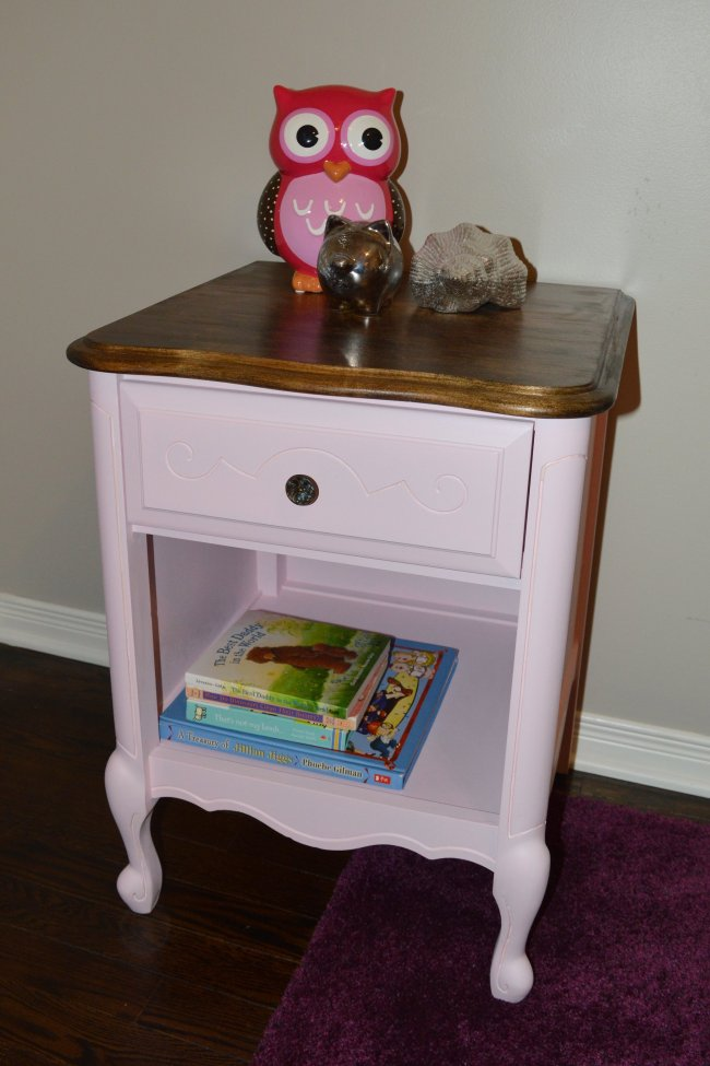 Pink Side Table Makeover. Pink furniture makeover