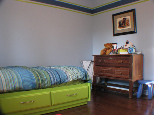 Blue and lime bedroom