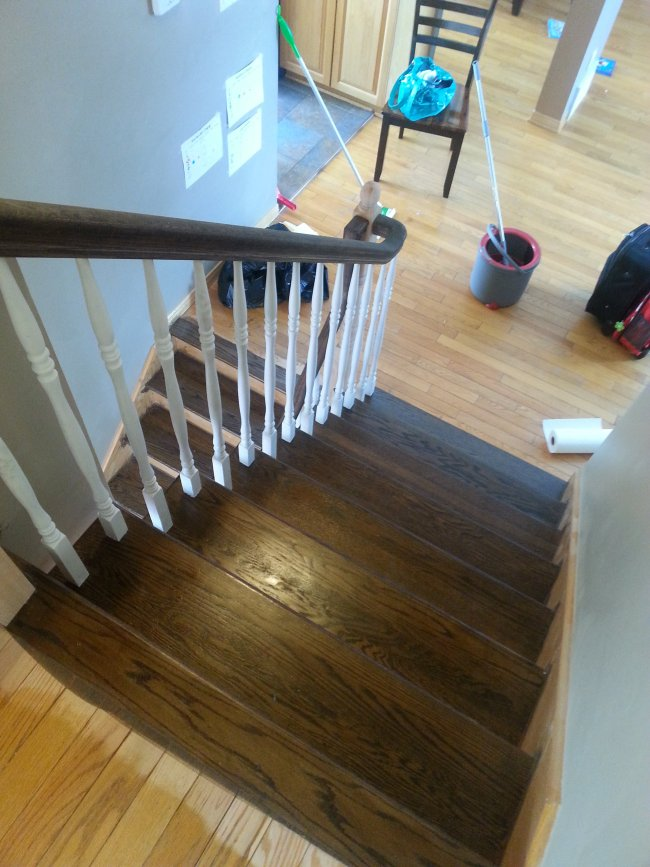 1900s outdated oak stair before and after
