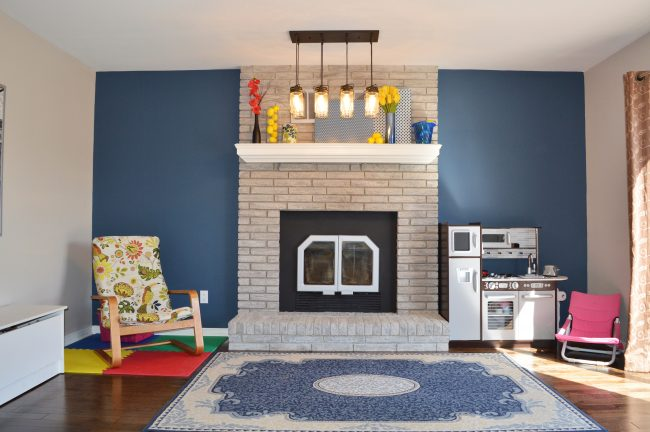 Allen and Roth Vallymede 8 light pendant as part of a fireplace makeover