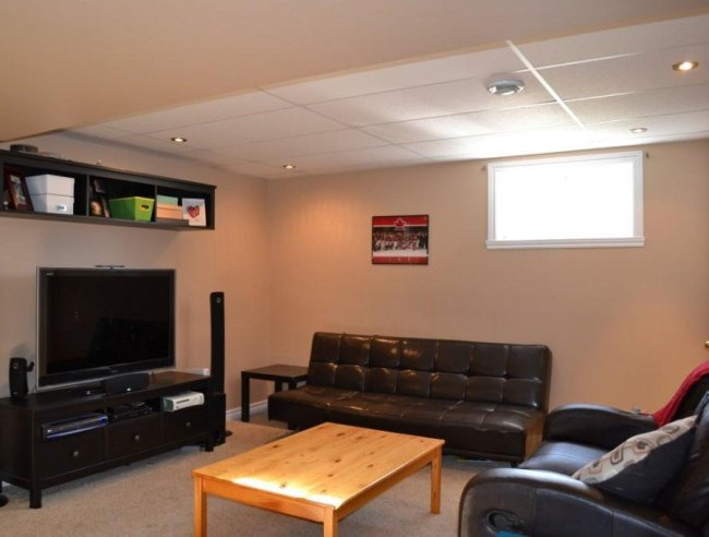 Basement family room in a split-level house