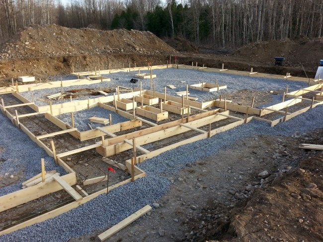 Forming the foundation footings
