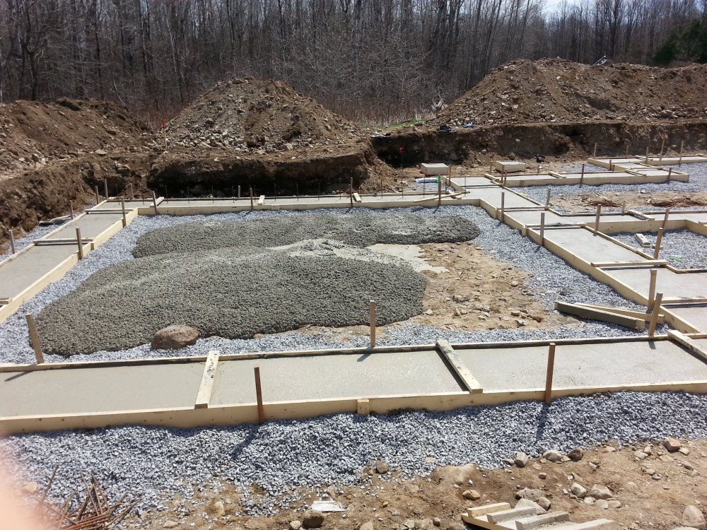 Pouring concrete for foundation footings