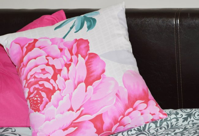 Pink cushion cover