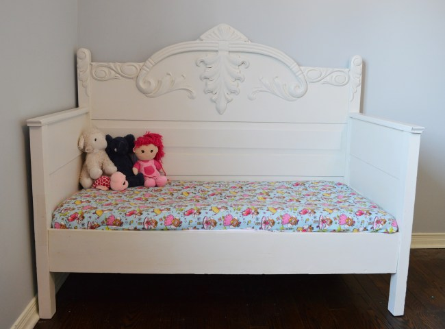 DIY toddler daybed made from an antique 3/4 bed