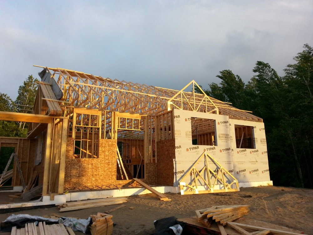 Grandor lumber roof trusses. Owner builder raised bungalow in Ontario