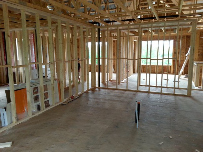 interior framing in an open concept kitchen. Owner builder raised bungalow