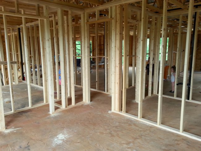 interior framing of an owner builder raised bungalow